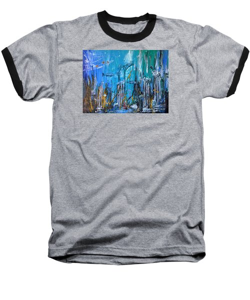 Baseball T-Shirt featuring the painting Lost City by Arturas Slapsys