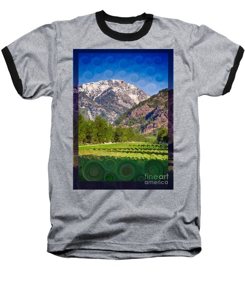 Lost River Airport Runway Abstract Landscape Painting Baseball T-Shirt