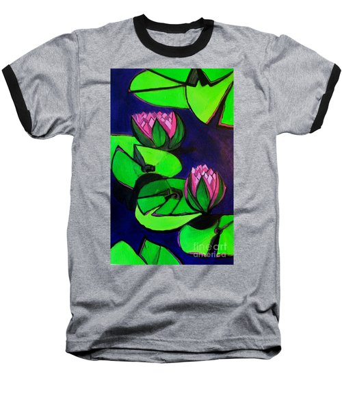 Lotus 2 Botanical Flowers Baseball T-Shirt