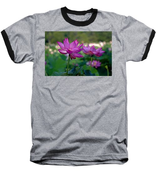 Baseball T-Shirt featuring the photograph Lotus Flowers by Jerry Gammon