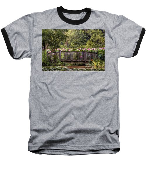 Baseball T-Shirt featuring the photograph Lotus Garden Pond And Bridge by Jerry Gammon