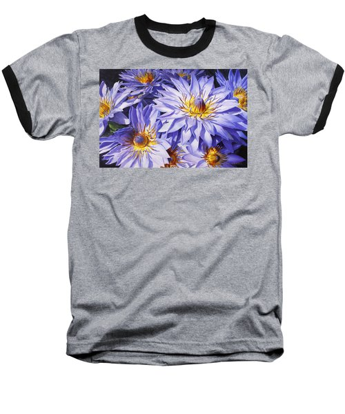 Lotus Light - Hawaiian Tropical Floral Baseball T-Shirt by Karen Whitworth