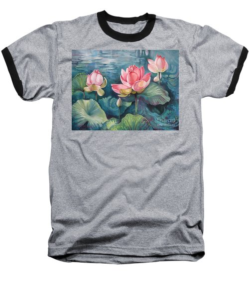 Baseball T-Shirt featuring the painting Lotus Pond by Elena Oleniuc