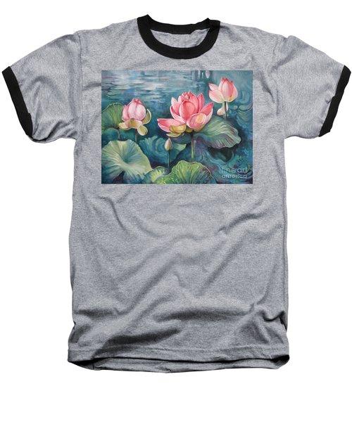 Lotus Pond Baseball T-Shirt by Elena Oleniuc