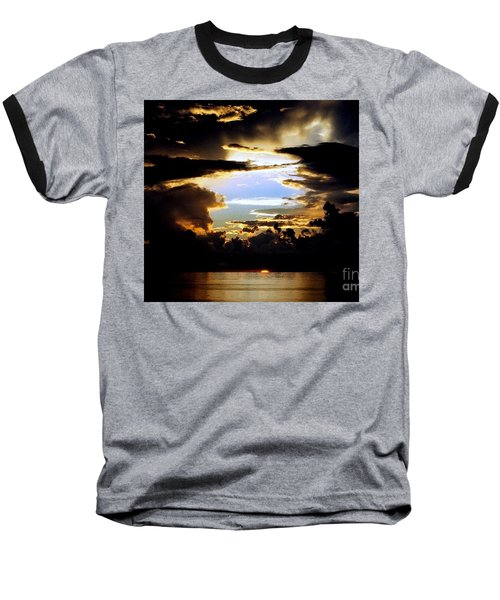 Baseball T-Shirt featuring the photograph Louisiana Sunset Blue In The Gulf  Of Mexico by Michael Hoard