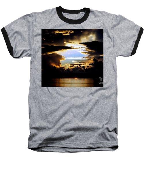 Louisiana Sunset Blue In The Gulf  Of Mexico Baseball T-Shirt