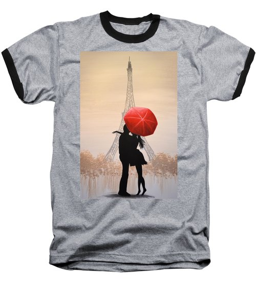 Baseball T-Shirt featuring the painting Love In Paris by Amy Giacomelli