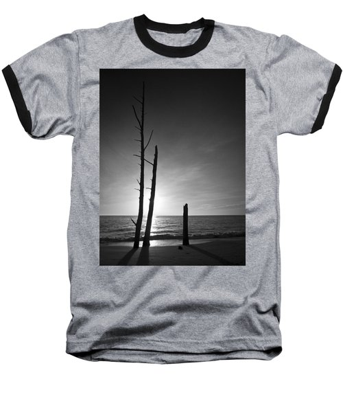 Lovers Key Sunset Black And White One Baseball T-Shirt