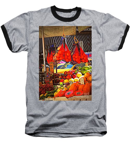 Low-hanging Fruit Baseball T-Shirt by Miriam Danar