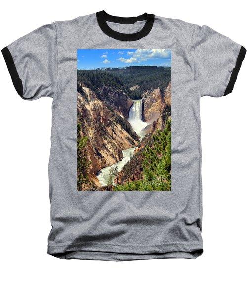 Lower Falls Of Yellowstone Baseball T-Shirt