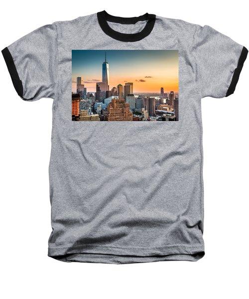 Lower Manhattan At Sunset Baseball T-Shirt