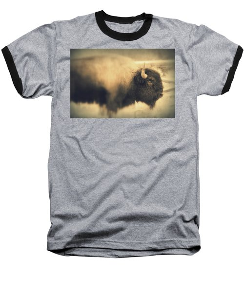 Baseball T-Shirt featuring the photograph Lucky Yellowstone Buffalo by Lynn Sprowl
