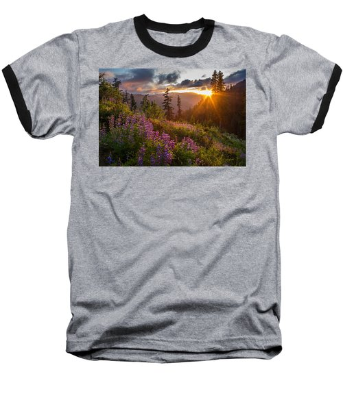 Lupine Meadows Sunstar Baseball T-Shirt by Mike Reid