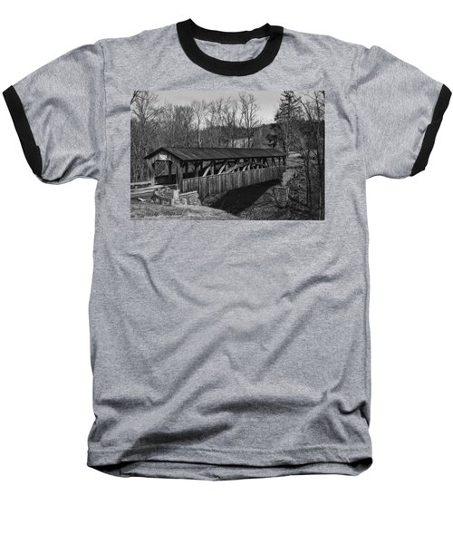 Luther's Mill Covered Bridge Black And White Baseball T-Shirt
