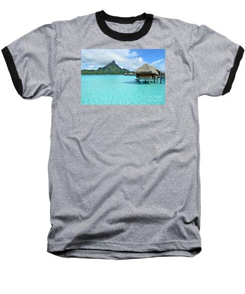 Luxury Overwater Vacation Resort On Bora Bora Island Baseball T-Shirt by IPics Photography