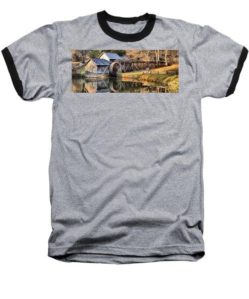 Mabry Grist Mill Fall Panorama Baseball T-Shirt