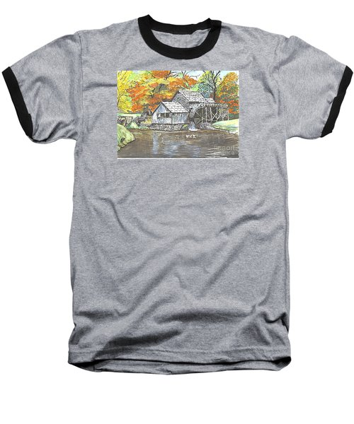 Baseball T-Shirt featuring the painting Mabry Grist Mill In Virginia Usa by Carol Wisniewski