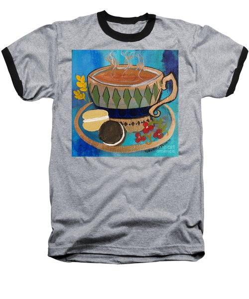 Baseball T-Shirt featuring the painting Macaroons And Tea by Robin Maria Pedrero