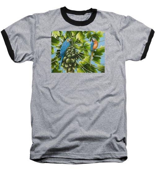 Macaw Parrots In Papaya Tree Baseball T-Shirt