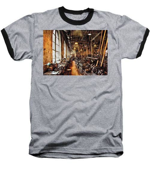 Machinist - Machine Shop Circa 1900's Baseball T-Shirt by Mike Savad