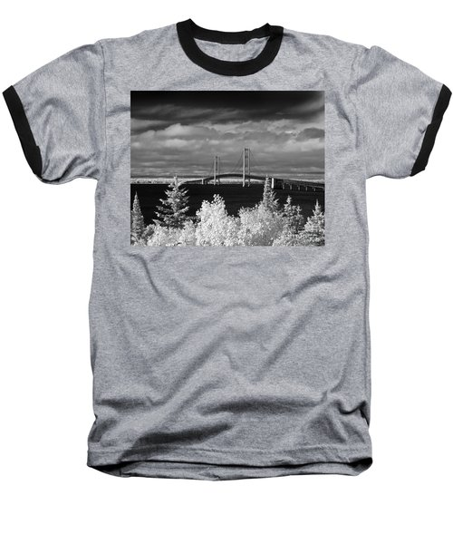 Macinac Bridge - Infrared Baseball T-Shirt