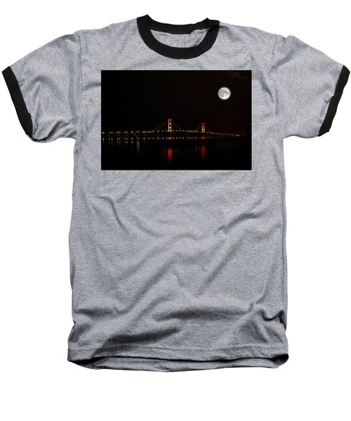 Mackinac Bridge And Moon Baseball T-Shirt