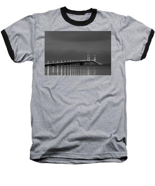 Mackinac Bridge Black And White Baseball T-Shirt
