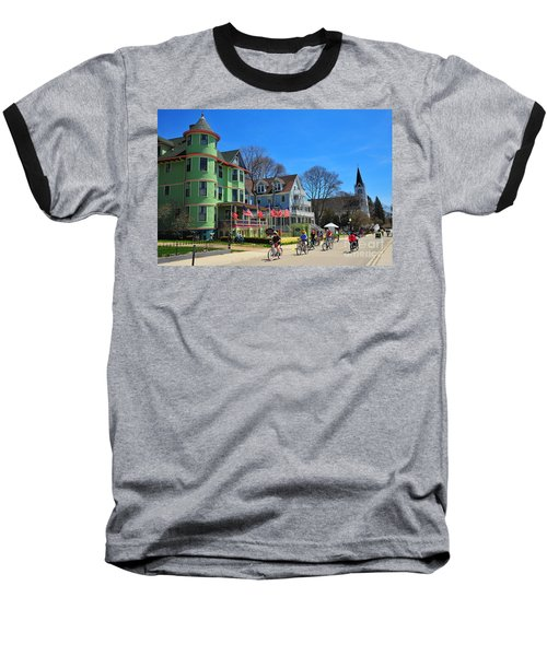 Mackinac Island Waterfront Street Baseball T-Shirt