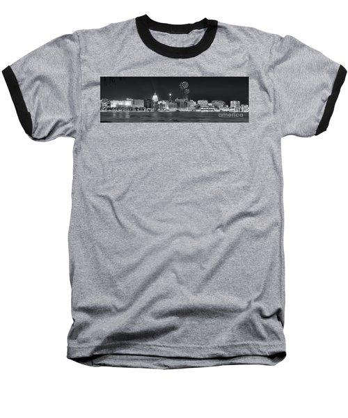 Madison - Wisconsin -  New Years Eve Panorama Black And White Baseball T-Shirt