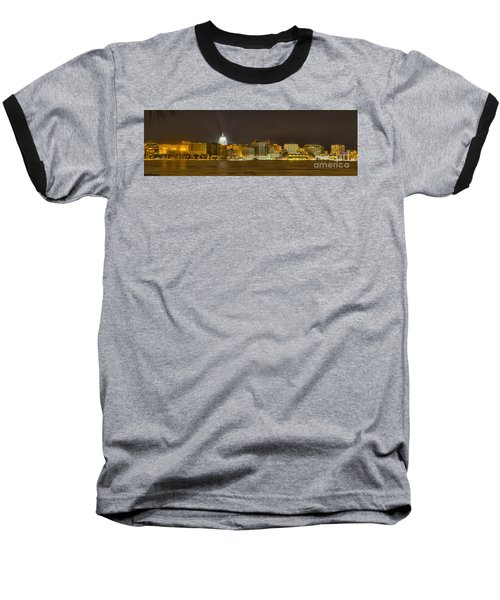 Madison - Wisconsin City  Panorama - No Fireworks Baseball T-Shirt by Steven Ralser