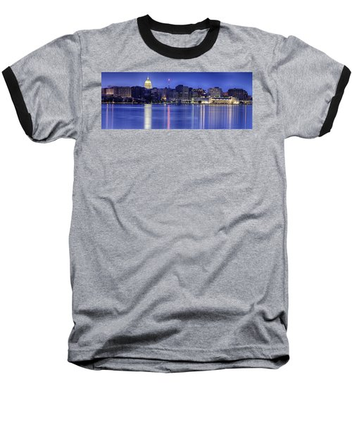 Madison Skyline Reflection Baseball T-Shirt by Sebastian Musial