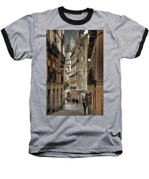 Madrid Streets Baseball T-Shirt by Joan Carroll