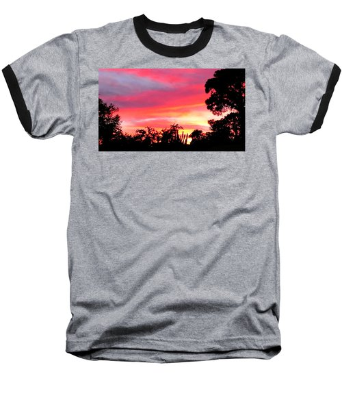 Baseball T-Shirt featuring the photograph Magenta Sunset by DigiArt Diaries by Vicky B Fuller