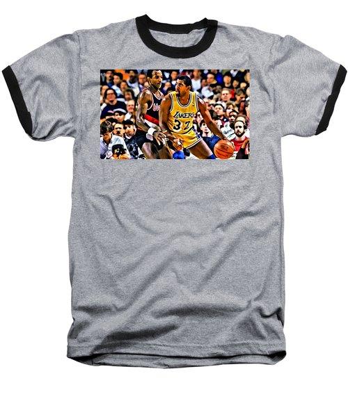 Magic Johnson Vs Clyde Drexler Baseball T-Shirt