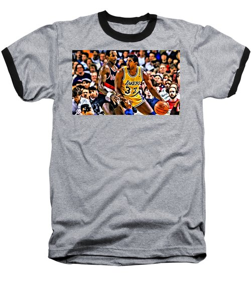 Magic Johnson Vs Clyde Drexler Baseball T-Shirt by Florian Rodarte