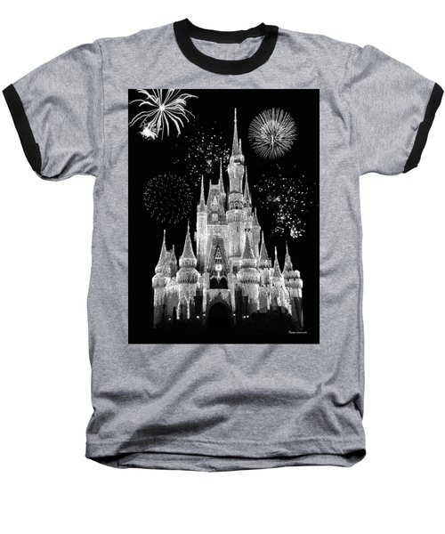Magic Kingdom Castle In Black And White With Fireworks Walt Disney World Baseball T-Shirt by Thomas Woolworth