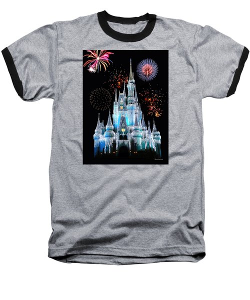 Magic Kingdom Castle In Frosty Light Blue With Fireworks 06 Baseball T-Shirt by Thomas Woolworth