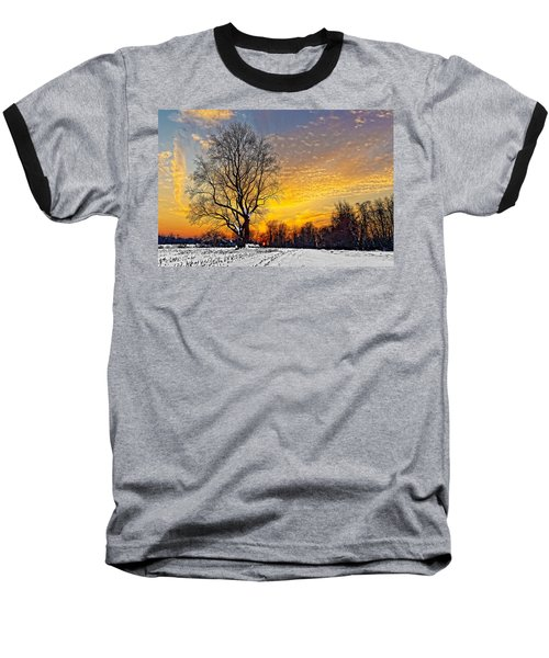 Magical Winter Sunset Baseball T-Shirt