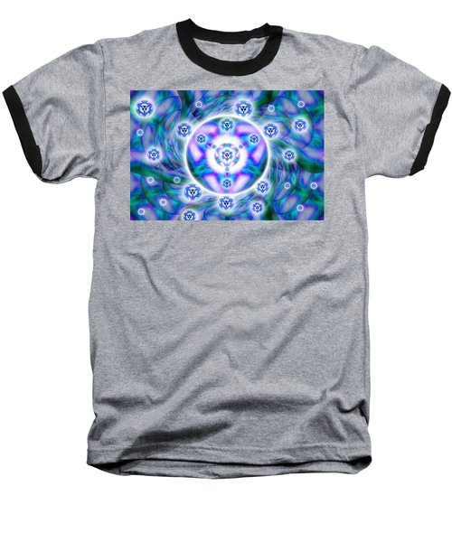 Baseball T-Shirt featuring the drawing Magnetic Fluid Harmony by Derek Gedney