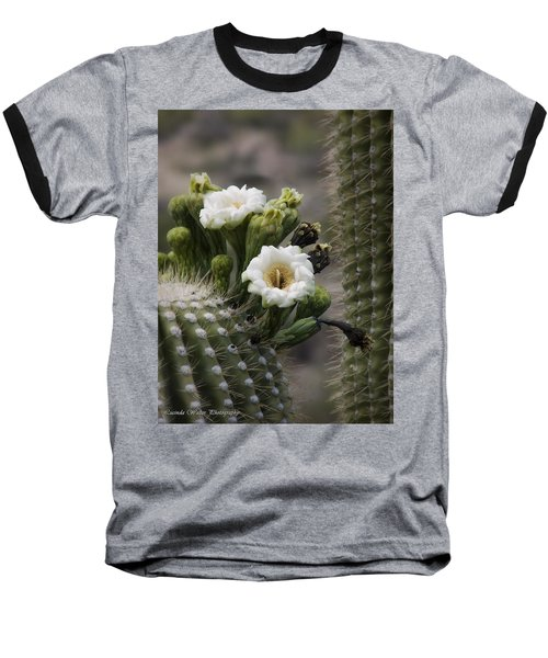 Baseball T-Shirt featuring the photograph Magnificant Bloom Of The Saguaro by Lucinda Walter
