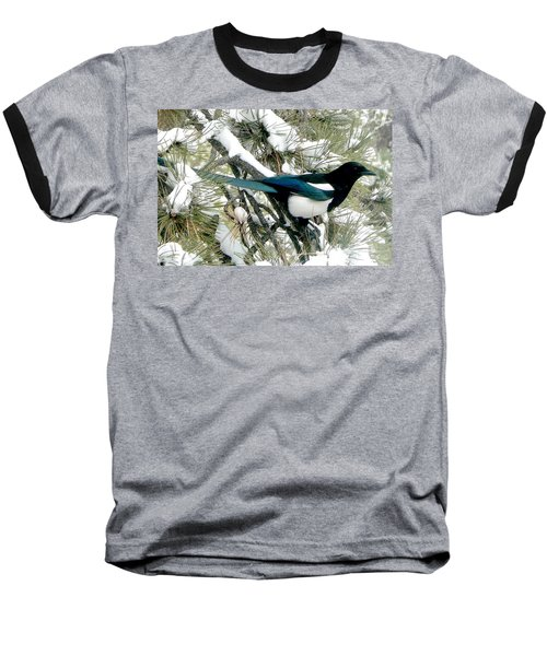 Magpie In The Snow Baseball T-Shirt by Marilyn Burton