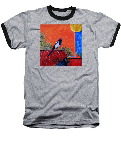 Magpie Singing At The Bath Baseball T-Shirt by Xueling Zou