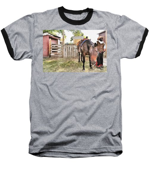 Baseball T-Shirt featuring the painting Mahaffie Stagecoach Stop And Farm by Liane Wright