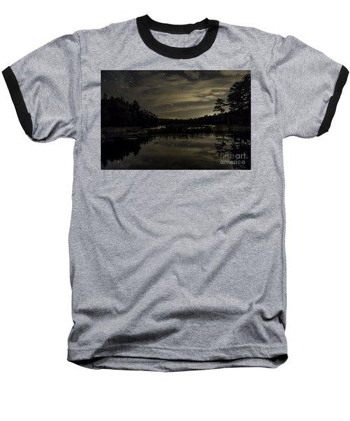 Maine Beaver Pond At Night Baseball T-Shirt