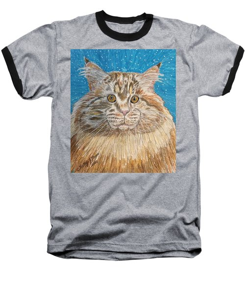 Maine Coon Cat Baseball T-Shirt by Kathy Marrs Chandler
