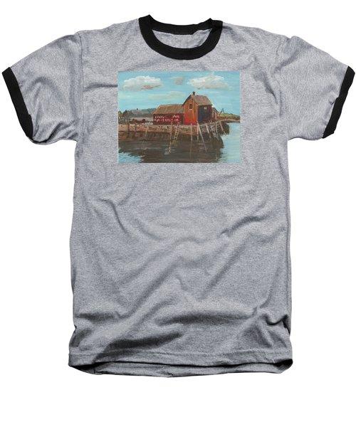 Maine Fishing Shack Baseball T-Shirt by Christine Lathrop