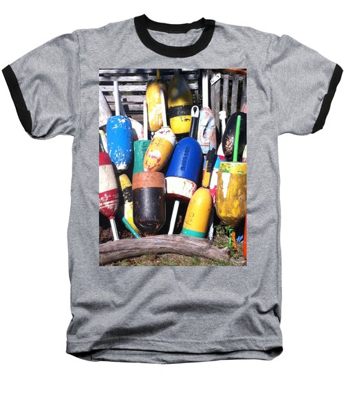 Maine Lobster Buoys Baseball T-Shirt by Denyse Duhaime