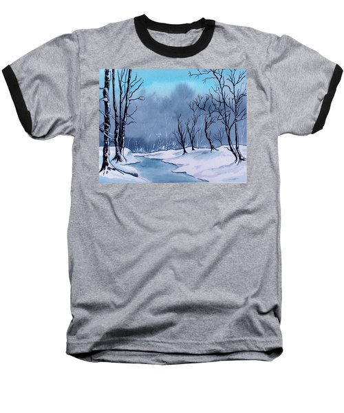 Maine Snowy Woods Baseball T-Shirt