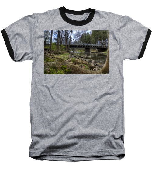 Majestic Bridge In The Woods Baseball T-Shirt