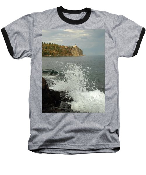 Baseball T-Shirt featuring the photograph Making A Splash At Split Rock Lighthouse  by James Peterson
